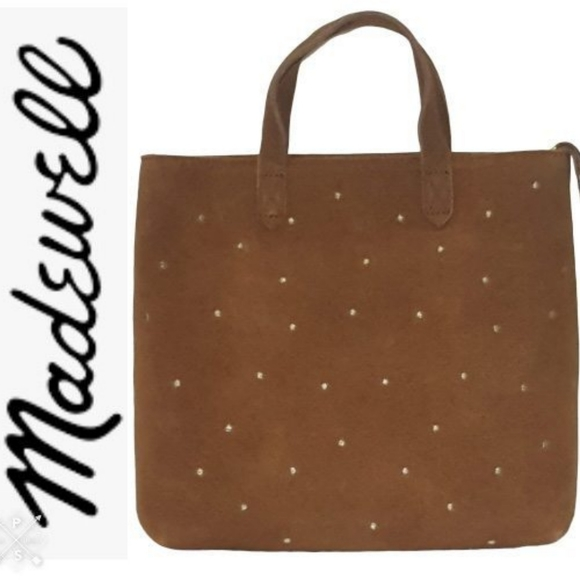 Madewell Handbags - Madewell Small Suede Studded Transport Tote NEW